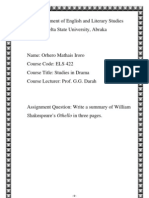 The Summary of Shakespeare's Othello by Orhero Mathais
