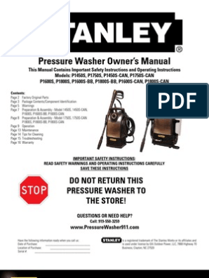 Pressure Washer Owner's Manual: Do Not Return This Pressure