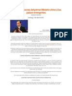Recomendaciones del primer Ministro chino a los países emergentes