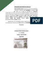 AUTORIZACIÓN PARA PORTE DE VEHICULO