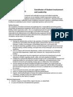 Job Description for SIL Facilities Coordinator