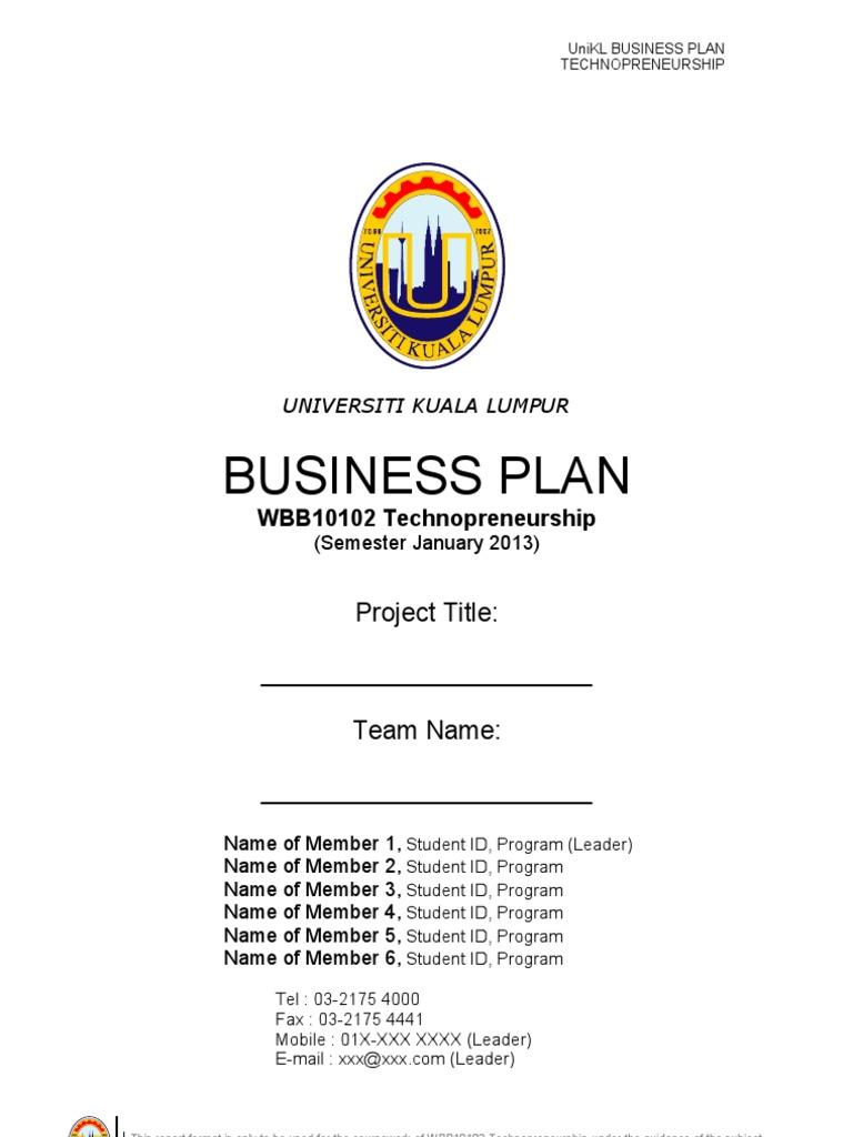 sample business plan technopreneurship