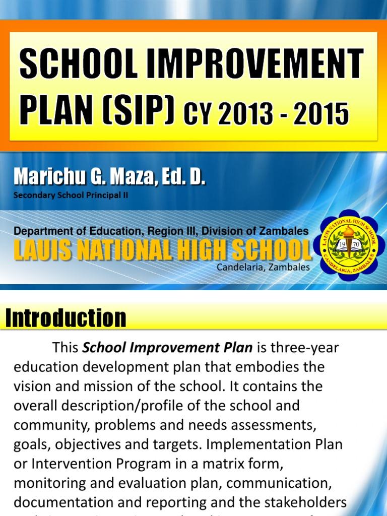 lnhs school improvement plan 2013