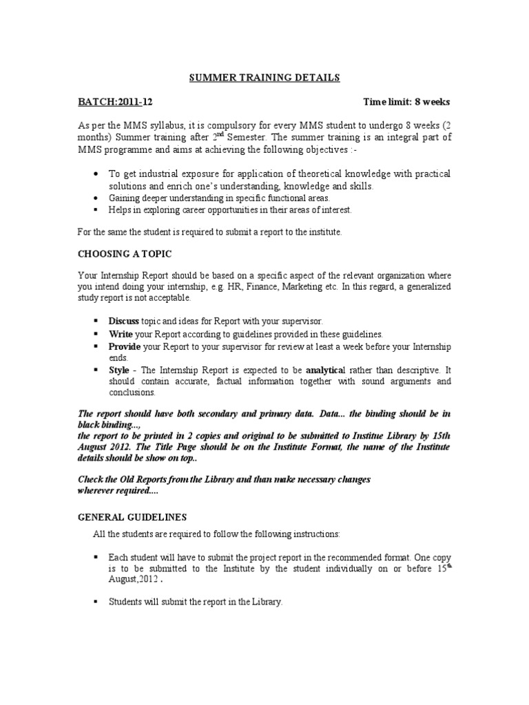 Internship Project Report Format