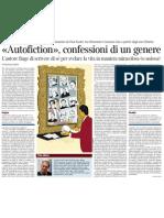 Autofiction, Confessioni Di Un Genere. Da Roland Barthes a Paul Auster, Di EMANUELE TREVI - Corriere Della Sera 12.02.2013