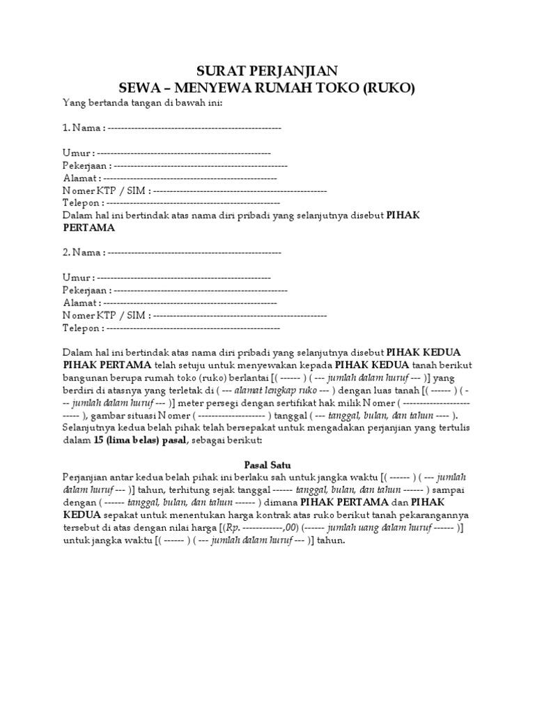 Contoh Perjanjian Sewa Menyewa Rumah Pdf Download Vinpoks