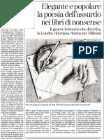 Nonsense. La Poesia Dell'Assurdo Che Divertiva La Londra Vittoriana Ritorna Nei Millenni Einaudi- La Stampa 12.02.2013