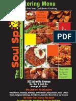 Catering Menu For The Soul Spot Restaurant