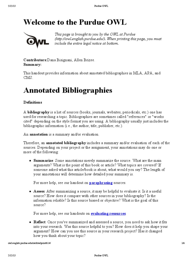 Purdue Owl Annotated Bibliography Example Apa Image Collections