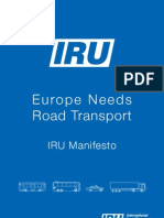 IRU Manifesto to the EU – Europe needs road transport