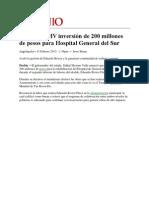 11-02-2013 Milenio - Anuncia RMV inversión de 200 millones de pesos para Hospital General del Sur.pdf
