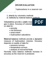 Reservoir Evaluation