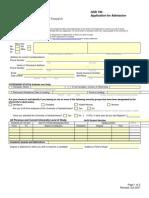 Saskatchewan Canada Admission Form