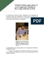 Entrevista a Martín Córdoba, quien obtuvo el 5º puesto en el Campeonato Mundial de Taquigrafía a Lápiz celebrado en París