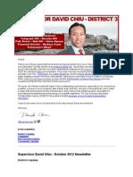 Supervisor Chiu October 2012 Newsletter
