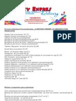 Lista de Precios Golosinas y Bebidas Personalizadas Septiembre 2011