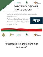 procesos manufactura comunes