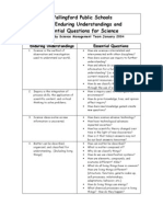 SCIENCE Enduring Understandings  and Essential Questions 2003