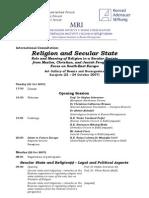 Program konferencije Religija u sekularnoj drzavi, 2007