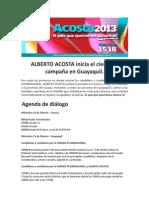 ALBERTO ACOSTA inicia el cierre de campaña en Guayaquil