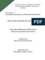 Pregatirea Personalului Didactic de Specialitate Stiinte Socio-umane