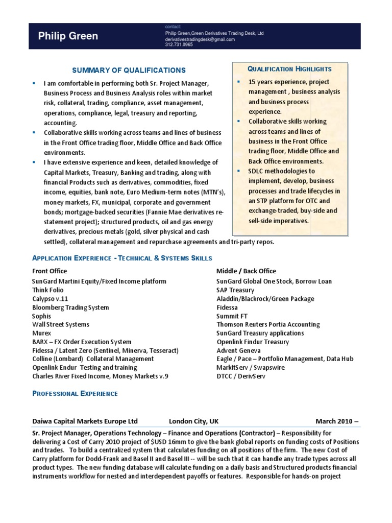Quantitative Analyst Cover Letter Template