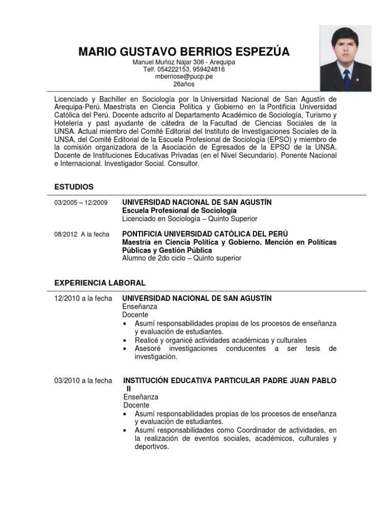 Modelo De Curriculum Vitae 2013 Universidad Perú