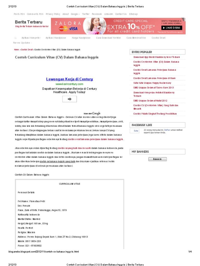 Contoh Curriculum Vitae Cv Dalam Bahasa Inggris Berita Terbaru