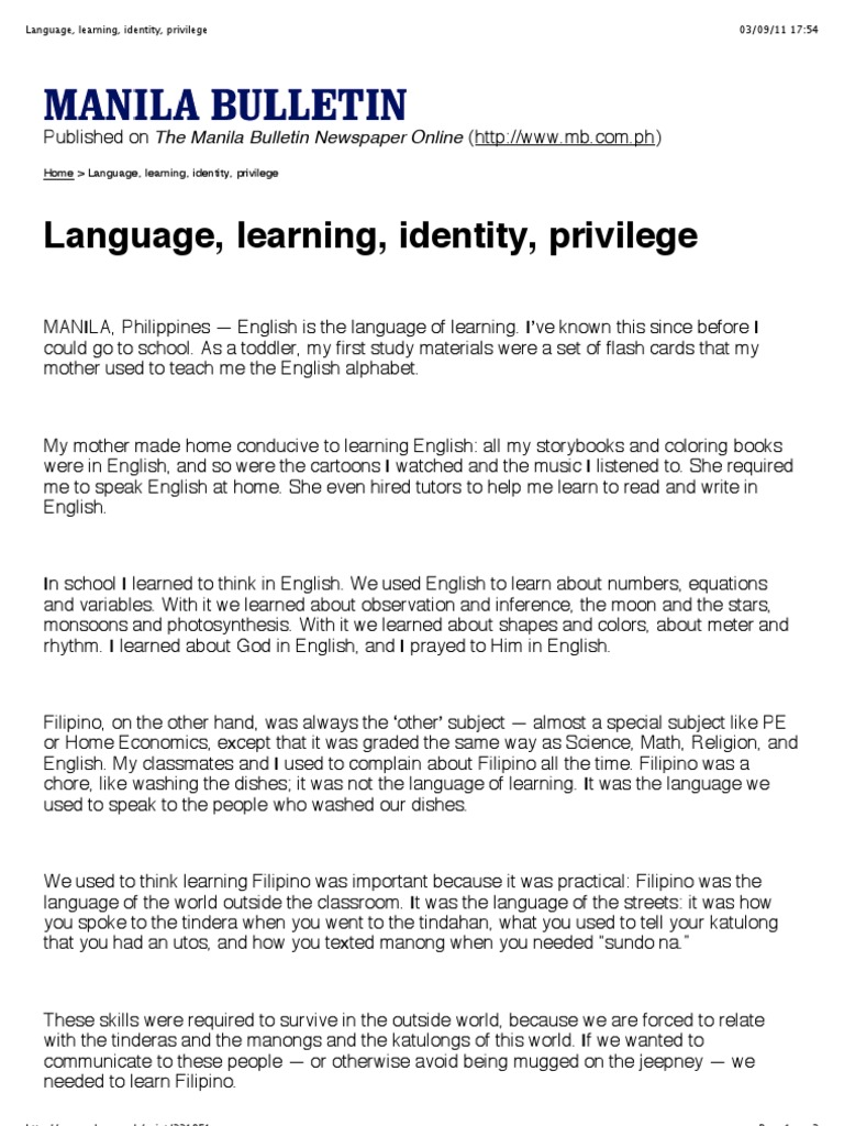 Soriano  Language, learning, identity, privilege pdf