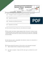 Ficha de CFQ - Reações quimicas e teoria corpuscular