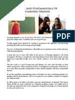 Basics and Fundamentals of Learning Spanish