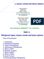 Refrigerant Types, Issues, Trends and Future Options