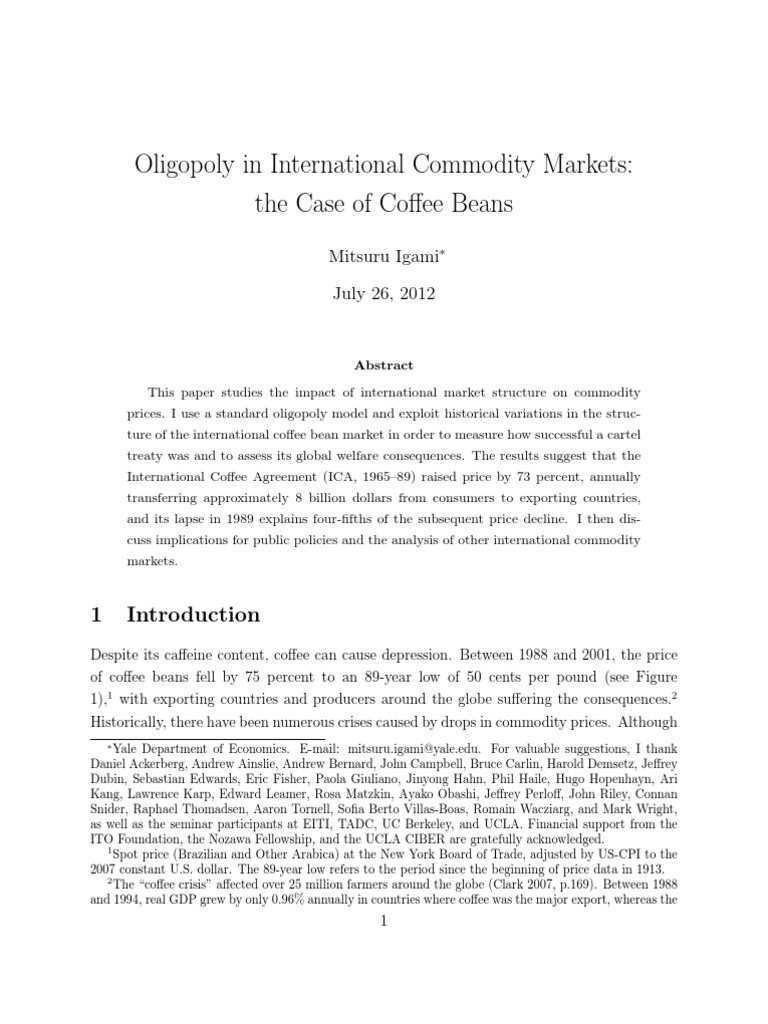Oligopoly In International Commodity Markets The Case Of Coffee