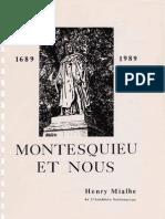 Montesquieu et Nous