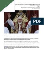 Article on Benedict XVI's Resignation