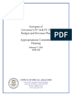 2013SYNG-20130207_Synopsis of the Governor's FY 14 and FY 15 Budget and Revenue Plan