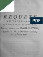Cagliostro Requete Au Parlement 24 Fevrier 1786