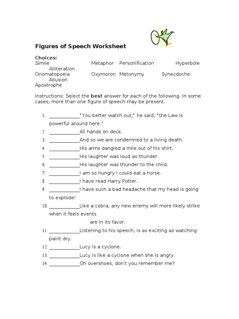 Free Worksheet Figures Of Speech Worksheet extrafigures of speech worksheet doc