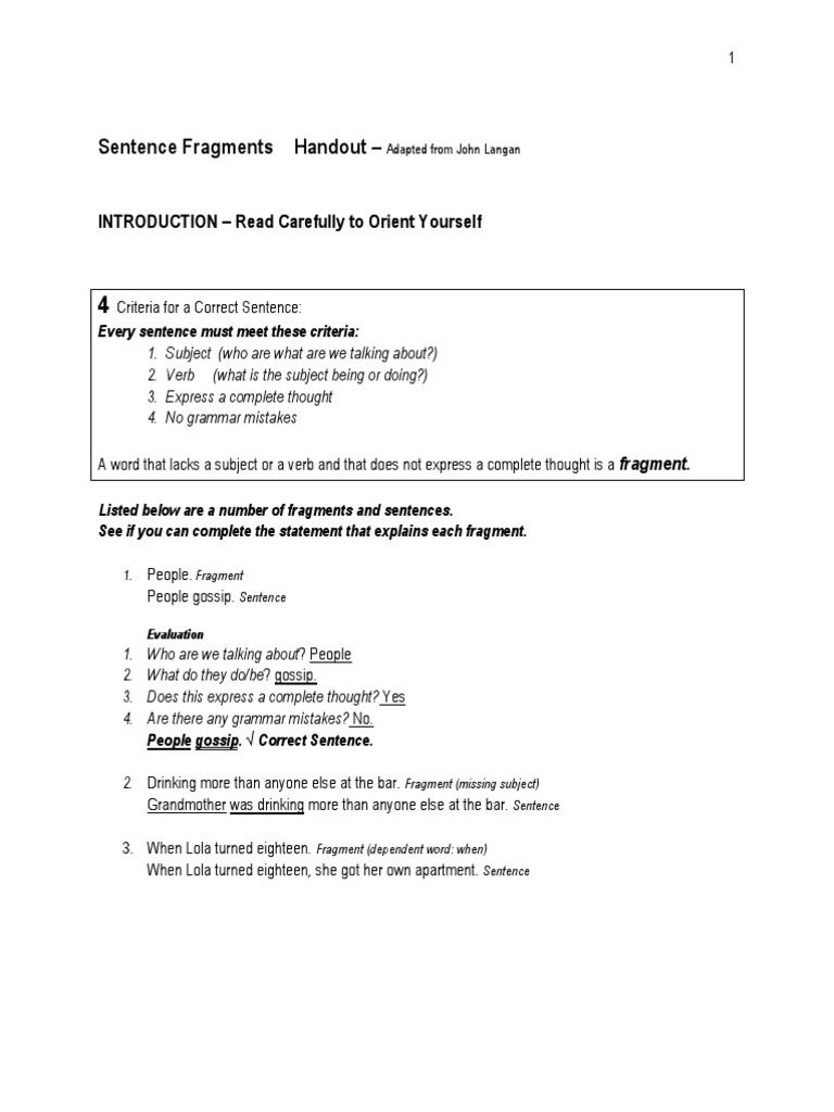 worksheet Sentence Fragment Worksheets sentence fragments worksheet linguistics verb