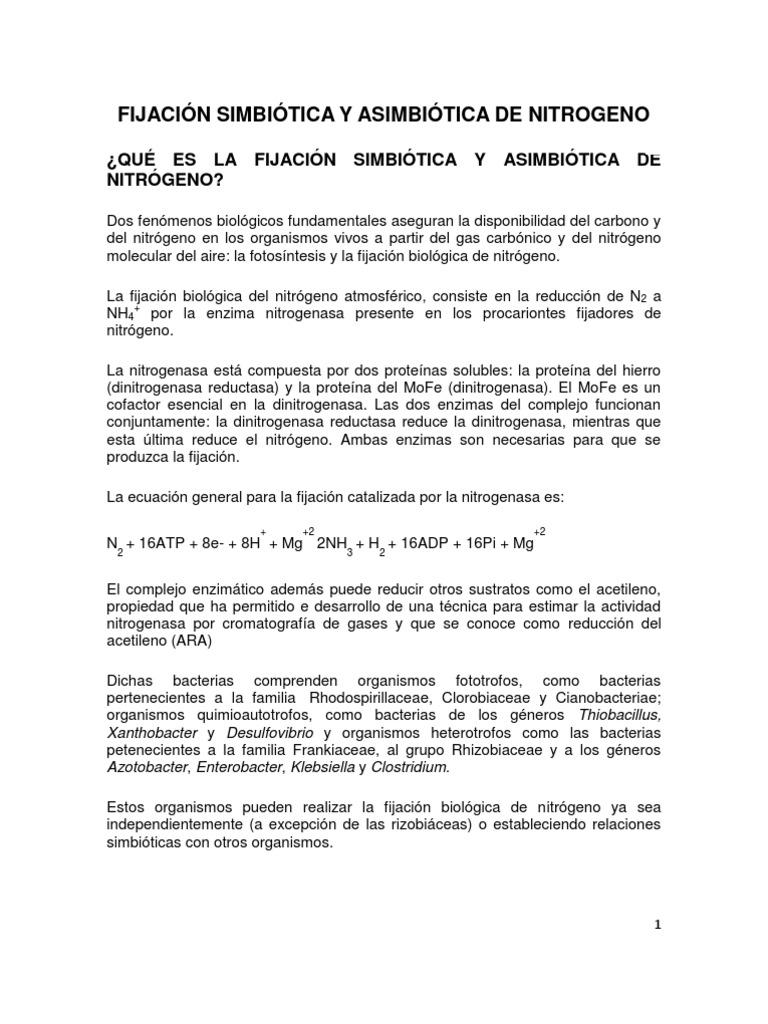TRABAJO FIJACIÓN SINBIÓTICA Y ASINBIÓTICA DE NITRÓGENO2