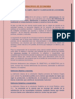Unidad I - Tema 1.1 Definición, campo, objeto y clasificación de la economia
