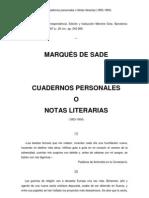 Sade, Marqués de - Cuadernos personales