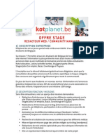 Offre Stage Kotplanet Community Manager Redac 032013