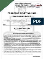 Prova Ufpa 2013