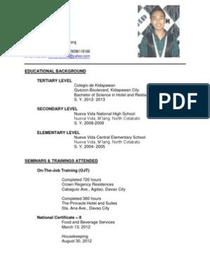 Bshrm Graduate Resume