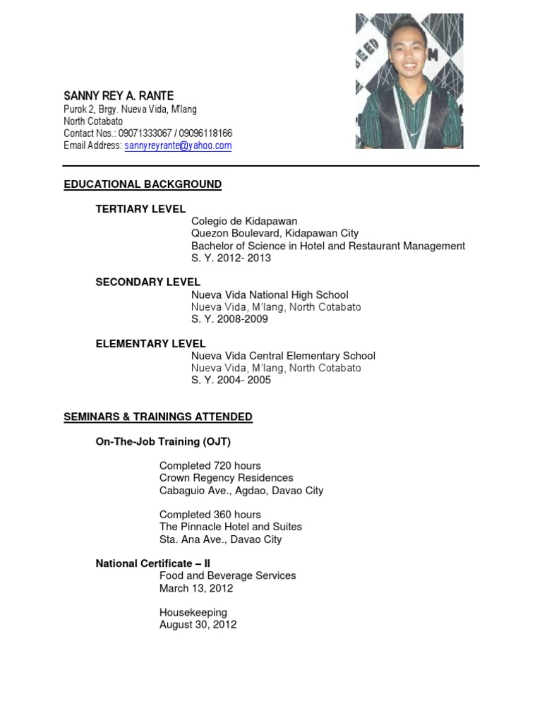 sle of resume for fresh graduate information technology