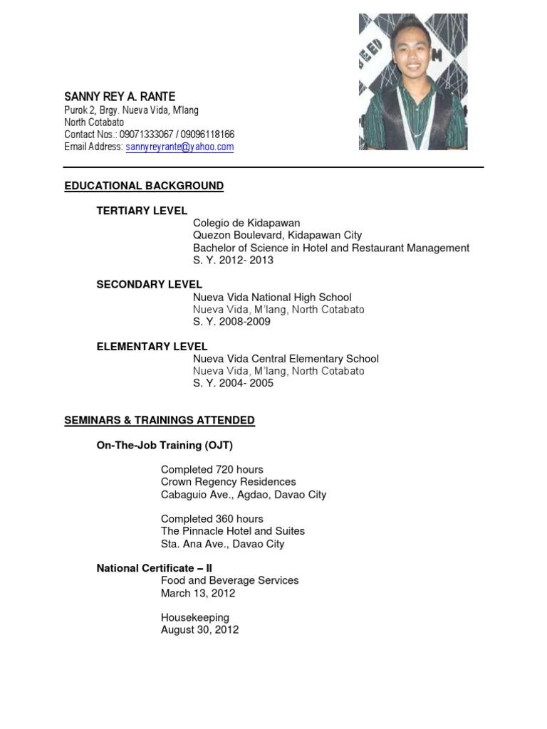 Career Objective For Ojt Hrm. sample resume for ojt hrm students ...
