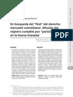 En busqueda del fosil del derecho mercantil colombiano - difusión del registro contable por partida doble en la nueva Granada