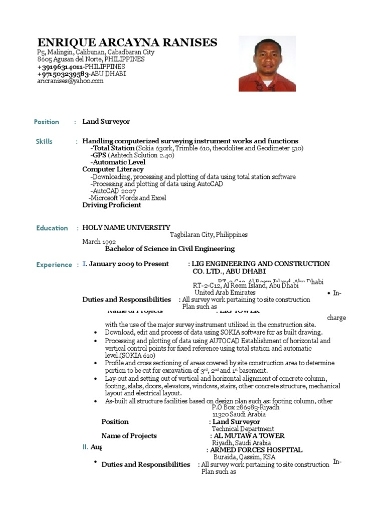 cv land surveyor surveying road surface - Bridge Design Engineer Sample Resume