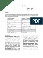 Syllabus, Investment Banking, SLBK610